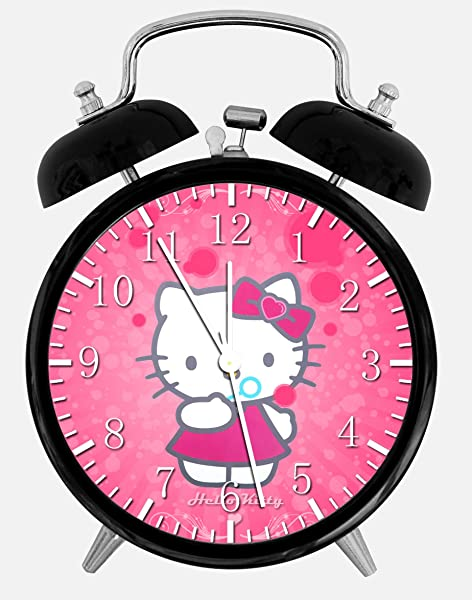 Pink Hello Kitty Twin Bells Alarm Desk Clock 4 Home Office Decor X20 Nice For Gifts
