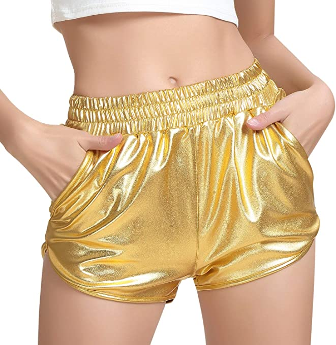 PESION Womens Yoga Hot Shorts Shiny Metallic Pants Rave Booty Dance