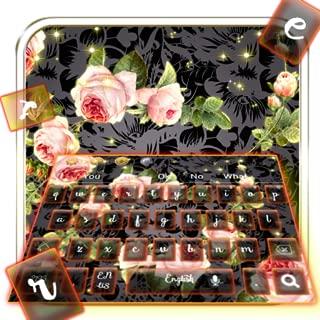 Gold Pink Rose Keyboard Theme