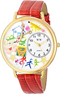 Whimsical Watches Women's G0640003 Preschool Teacher Red Leather Watch