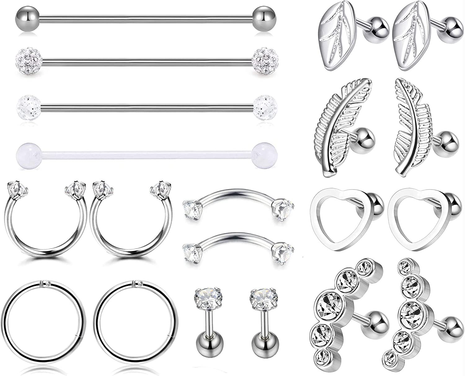 Subiceto 16G Cartilage Tragus Earrings for Women Helix Conch Daith Piercings Septum Nose Hoops 14G Industrial Barbell Piercings Stainless Steel Ear Piercing Set