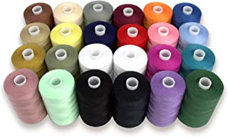 SEWING AID All Purpose Polyester Thread for Hand & Sewing Machine, 24 Spools in Assorted Colors, 1000 yd Each, Double of Black & White Threads