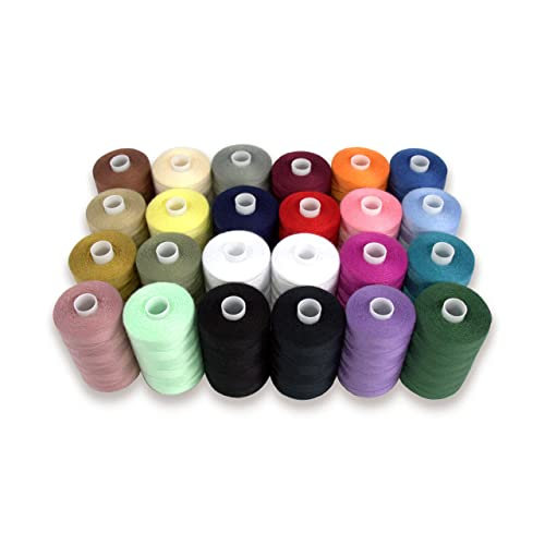 SEWING AID All Purpose Polyester Thread for Hand & Sewing Machine, 24 Spools in Assorted