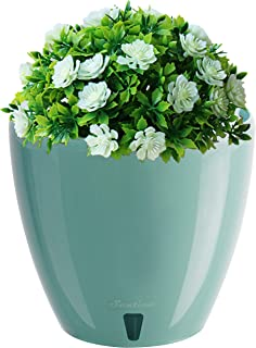 """Self Watering Planter - Indoor Decorative Flower Pot with Drainage Cartridge and Water Level Indicator (Diameter 6.7"""", Jade)"""