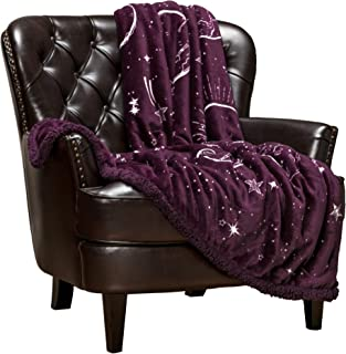 Chanasya Super Soft Solar System Galaxy Star Space Print Gift Throw Blanket| Featuring Nine Planets Orbiting The Sun Including Pluto Purple for Bed Couch Chair Birthday (50x65) Aubergine