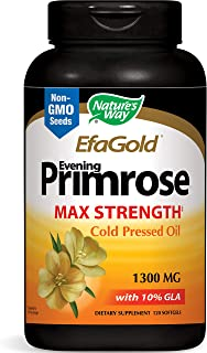 Nature's Way EfaGold Evening Primrose Oil, 1300mg, Cold Pressed | No Fillers | Non-GMO, 120 Softgels