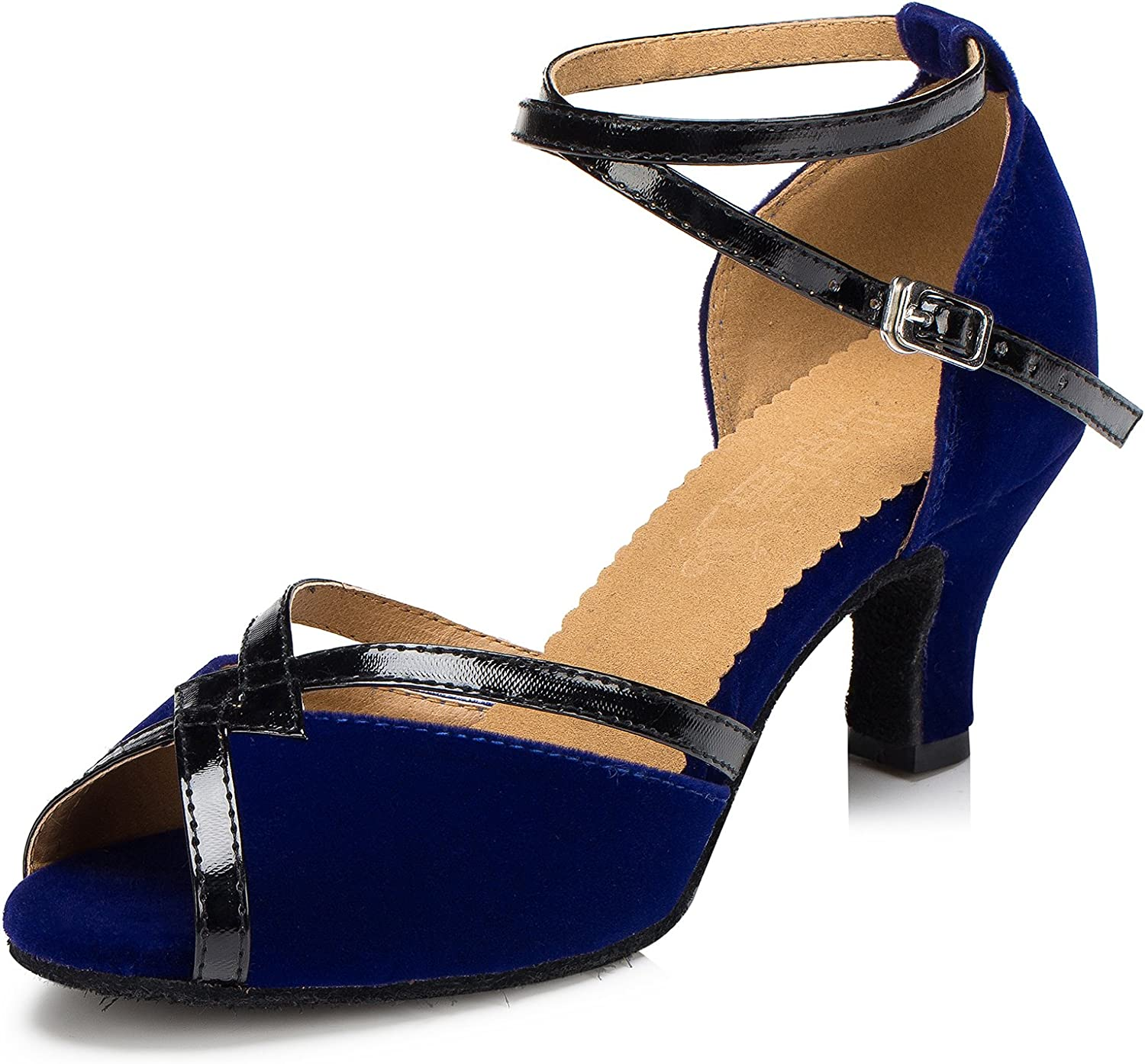 URVIP Women's PU Leather Heels Pumps Modern Latin Tango shoes Cross Ankle Strap Buckle Dance shoes LD066
