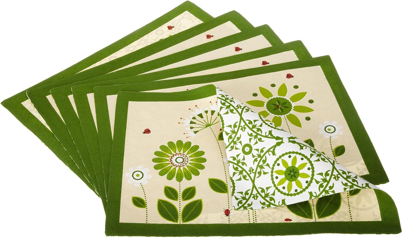 DII Green Garden Printed Set オーバーのアイテム取扱☆ Placemat 6 of 人気商品