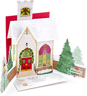 Hallmark Christmas Card for Family with Light and Song (Displayable Dimensional Church Plays Silent Night)
