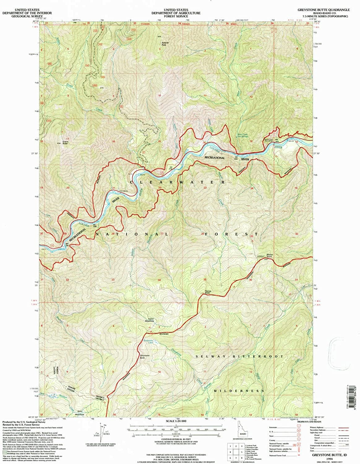 Greystone Butte ID topo map, 1 24000 Scale, 7.5 X 7.5 Minute, Historical, 1994, Updated 1997, 27 x 22.1 in