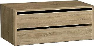 HomeSouth - Cajonera Armario Dos cajones, Mueble Auxiliar Almacenamiento Dormitorio, Modelo Lara, Color Cambria, Medidas: 77 cm (Largo) x 36 cm (Alto) x 45 cm (Fondo)