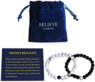Believe London® Distance Bracelets with Jewellery Bag & Meaning Card | Strong Elastic | Friends Relationship Couples His Hers Black Agate Onyx White Howlite
