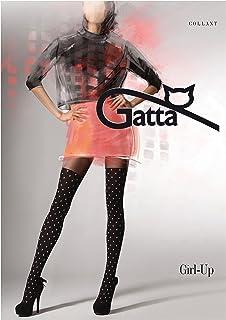 Gatta Girl Up 16 gemusterte Strumpfhose mit stylishem Overkneemuster und vielen Punkten