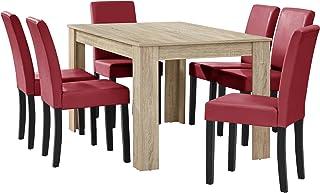 [en.casa] Table à Manger chêne Brilliant avec 6 chaises Rouge foncé Cuir-synthétique rembourré140x90