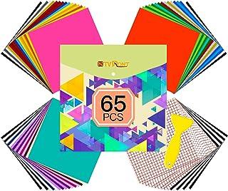 Vinyl for Cricut - 65 Pack Permanent Adhesive Vinyl Sheets Set - 55 Vinyl Sheets 12