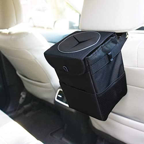popular EcoNour lowest Car Trash Can for Back Seat | Tough Car Waste Basket with online sale Collapsible Storage Walls | Waterproof Hanging Car Trash Bag with 1.5 Gallons Storage | Mesh Pockets with Velcro Closing Rubber Lids sale