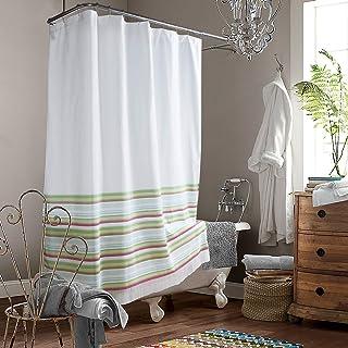 DS CURTAIN Glendon Red and Green Yarn Dyed Stripe Polyester Fabric Shower Curtain,Waterproof Handmade Tassel Shower Curtai...