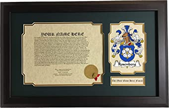 Rosenberg - Coat of Arms and Last Name History, 14x22 Inches Matted and Framed