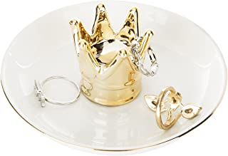 MyGift Ceramic Golden Crown Ring Holder & Jewelry Dish