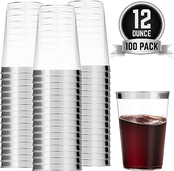 100 银塑料杯 12oz 透明塑料杯玻璃杯银边杯花式一次性婚礼杯优雅派对杯带银边