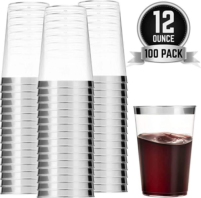 100 Silver Plastic Cups 12 Oz Clear Plastic Cups Tumblers Silver Rimmed Cups Fancy Disposable Wedding Cups Elegant Party Cups With Silver Rim