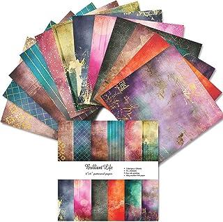 Lcoor Bloc de papier de scrapbooking simple face découpable de 24 pages pour la fabrication de cartes décorative (15 cm)