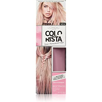 L'Oreal Paris Colorista Semi-Permanent Hair Color for Light Bleached or Blondes, Soft Pink