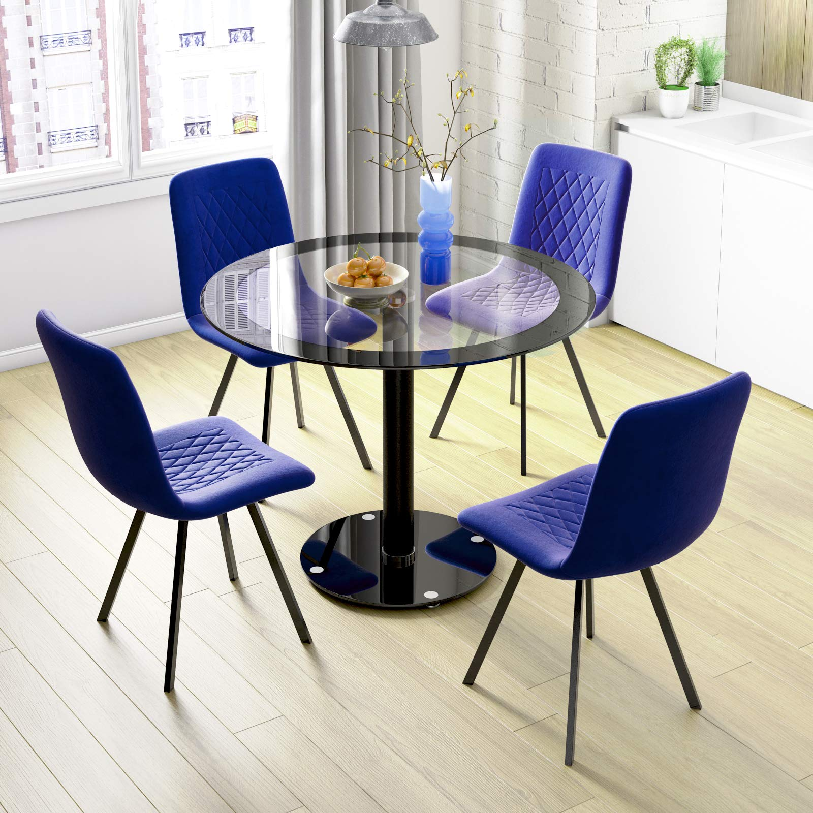 Jeffordoutlet Round Dining Table Chairs Kitchen Black Metal Dining Set Glass Table Top Glass Table Set Of 4 Chairs 2 Buy Online In El Salvador At Elsalvador Desertcart Com Productid 188963561