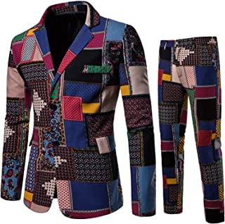 Mens Casual 2 Piece Print Dress Suit Floral Party Tux Jacket Slim Fit Outfit Fashion Ethnic Style Prom Tweed Blazer