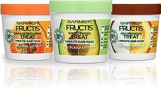 Garnier Hair Care Fructis Treats Variety Hair Masks with Nourishing Coconut, Damage Repairing Papaya, Smoothing Avocado, 3.4 Fl Oz (Pack of 1), 1 Kit