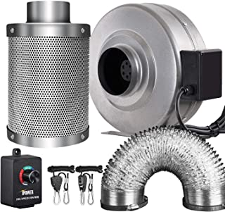 iPower 4 Inch 190 CFM Inline Fan Carbon Filter 8 Feet Ducting Combo with Variable Speed Controller and Rope Hanger for Grow Tent Ventilation (Renewed)
