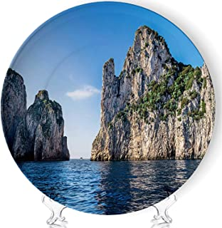 Hitecera Rocks,Formation on The Coast of Capri Island Art Meloble Decorative Ceramic Plates Display Plate Crafts,with Stand,for Living Room of The Home,7''