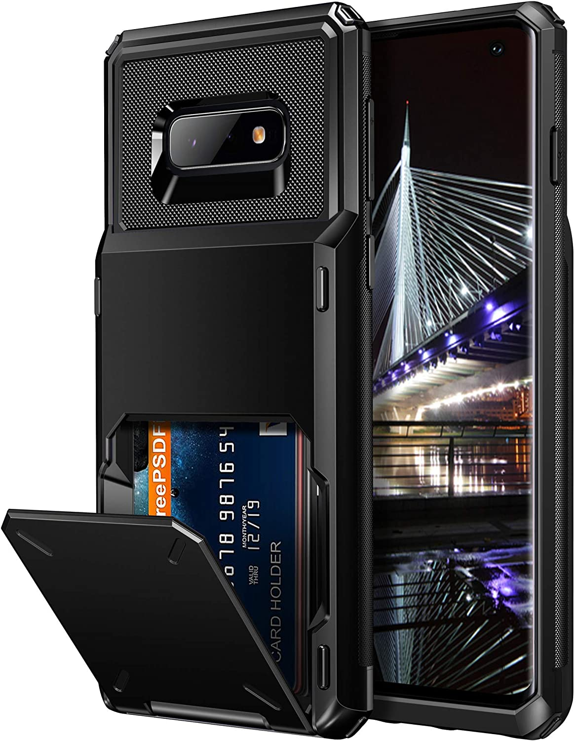 Vofolen for Galaxy S10e Wallet Case with Credit Card Holder [4 Card Pocket] Slot Scratch Resistant Dual Layer Protective Bumper Tough Rubber Armor Hard Shell Cover Case for Samsung Galaxy S10 E Black