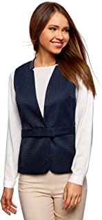 oodji Collection Donna Gilet Dritto in Lino
