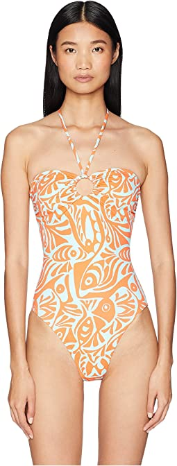 Fish Print Bandeau One-Piece