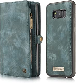 CaseMe Samsung Galaxy S8Plus Wallet Case,Handmade Cowhide Leather Large Capacity Detachable Zipper Wallet Case-Blue