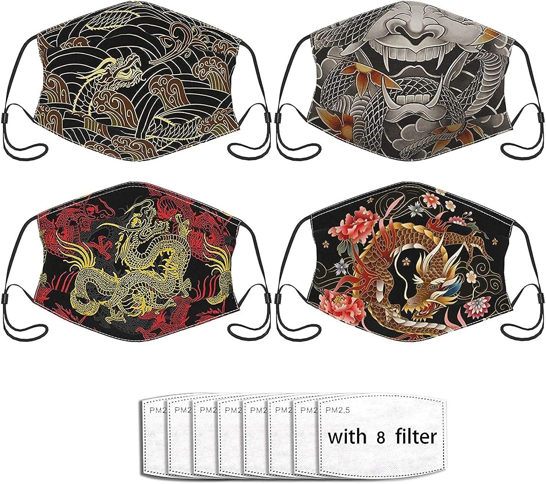 4pcs Koi Japanese Kimono Mask,Face Mask with Filter Pocket Unisex Balaclava Washable Reusable Cloth Fashion Scarf