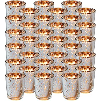 Royal Imports Silver Mercury Glass Votive Candle Holder, Table Centerpiece Tealight Decoration for Elegant Dinner, Party, Wedding, Holiday, Set of 36 (Unfilled)