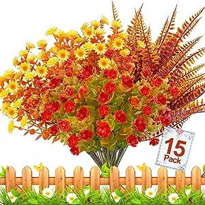 15 Bundles Thanksgiving Decorations Artificial Flowers Plants Set-Artificial Plastic Plants Fake Shrubs Greenery Fall Decor