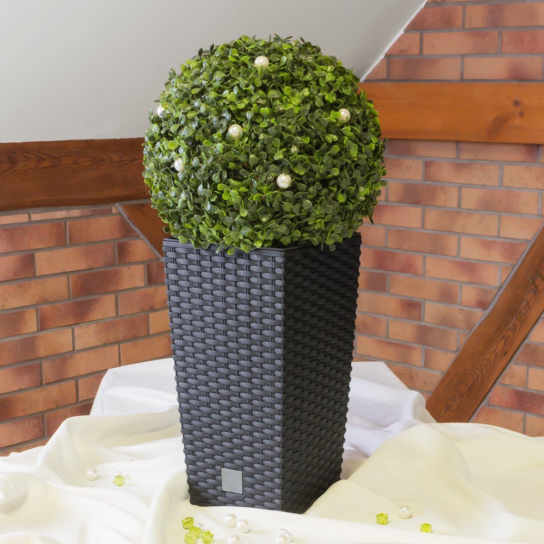 Stolmet - 2 macetas de ratán de plástico cuadradas para jardín interior y exterior (2 unidades, 26,6 L), color negro: Amazon.es: Hogar