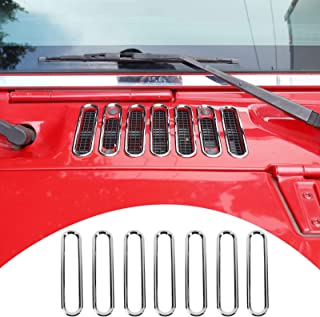 SQQP Hood Vent Cover Cowl Panel Vent CoverTrim, ABS Exterior Accessories for 2007-2017 Jeep Wrangler JK JKU 2/4-Door(Chrome)