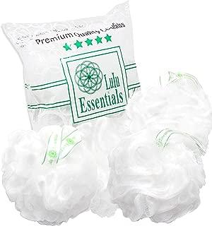 Lulu Essentials Premium Quality White Loofah (4 pack) Bath and Shower Sponge, Mesh Pouf Body Loofah, Scrubber Puff (white)