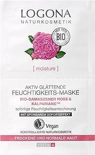LOGONA Naturkosmetik Aktiv glättende Feuchtigkeits-Maske, Mit Rosenwasser, Gesichtsmaske, Anti Aging, Intensive Feuchtigkeit, Bio Aloe Vera & Sheabutter, moisture Serie, Vegan, NATRUE, 15ml