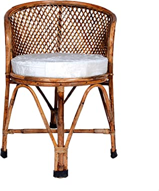 Wooden Bamboo Cane Dining Chair with Cushion by MyCrystal India | ArmRest Chairs for Home | Office | Balcony | Garden | Livin