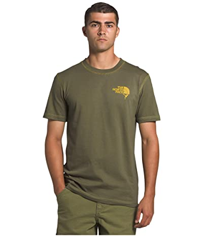 The North Face Dome Climb Short Sleeve Tee (Burnt Olive Green/Bamboo Yellow) Men
