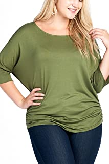 Women's Junior Plus Size Round Neck Dolman Sleeves Ruched and Smocked Top