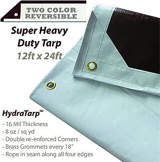 HydraTarp 12 Ft. X 24 Ft. Super Heavy Duty Waterproof Tarp - 16mil Thick - White/Brown Reversible Tarp