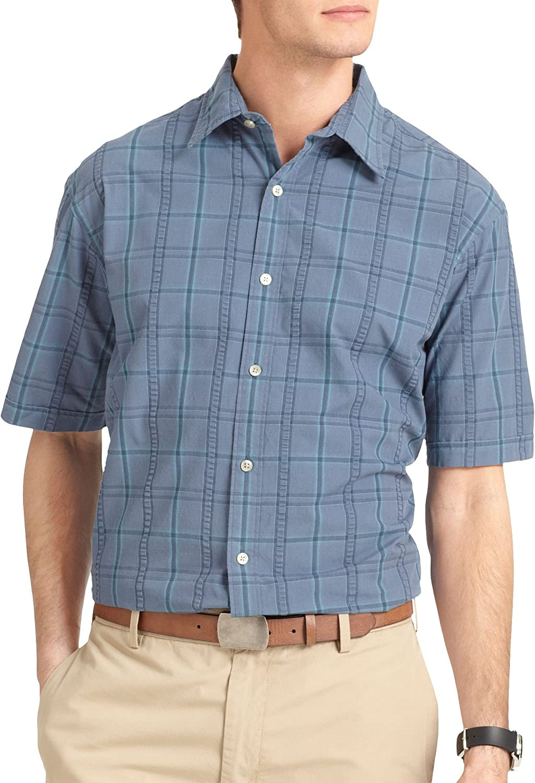 Van Heusen Men's Short Sleeve Wide Plaid Pucker Button Down