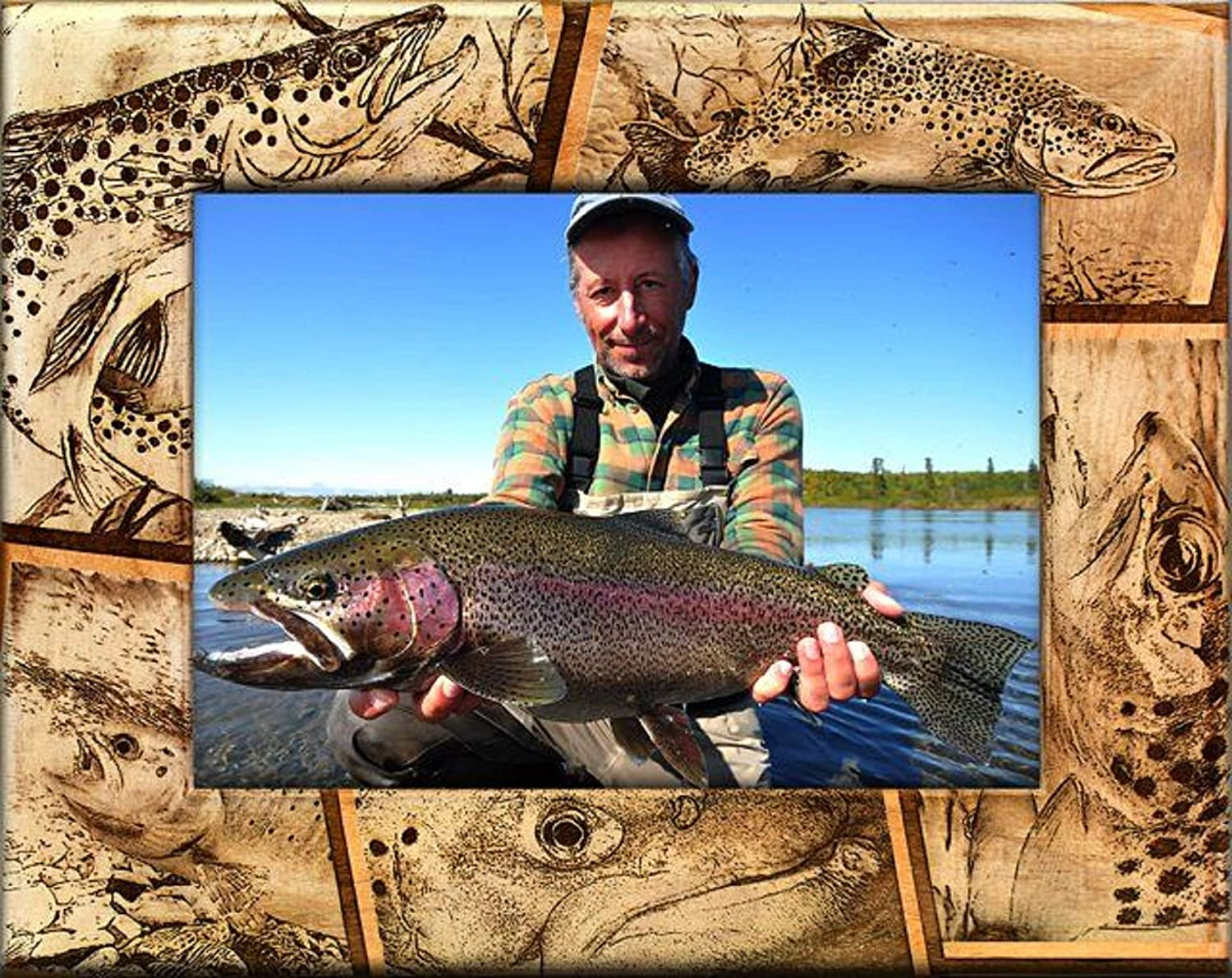 Trout Fishing Laser Engraved Wood Selling SALENEW very popular! and selling 5 x 7 Frame Picture