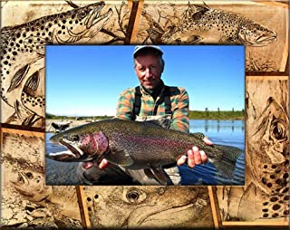 Trout Fishing Laser Engraved Wood Picture Frame (5 x 7)
